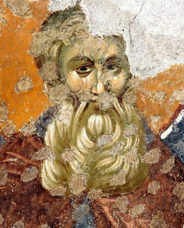 Лик Преподобного. Фреска церкви Богородицы Левишки в Призрене, Косово, Сербия. Около 1310 - 1313 годов. Иконописцы Михаил Астрапа и Евтихий.