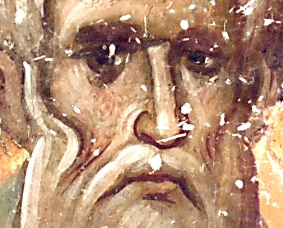 Священномученик Анфим, Епископ Никомидийский. Фреска церкви Святой Троицы в монастыре Сопочаны, Сербия. 1265 год.