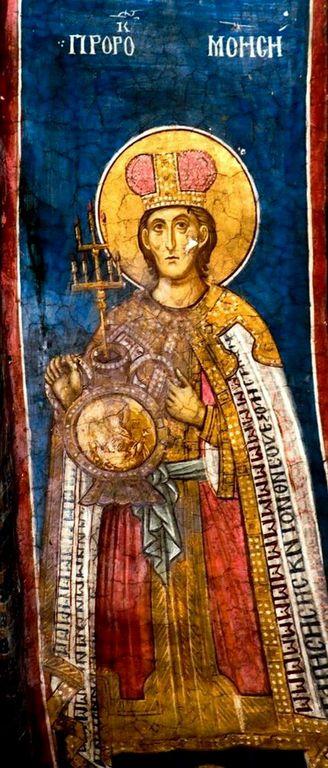 Святой Пророк Моисей Боговидец. Фреска монастыря Высокие Дечаны, Косово, Сербия. Около 1350 года.