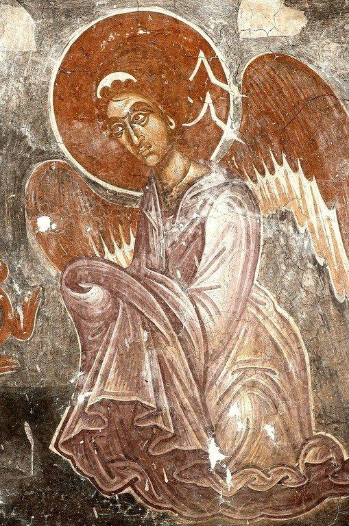 Ангел Господень. Фреска церкви Спаса в Призрене, Косово, Сербия. XIV век.
