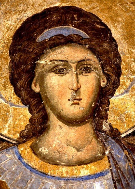 Архистратиг Михаил. Фреска церкви Святой Троицы в монастыре Манасия, Сербия. До 1418 года.