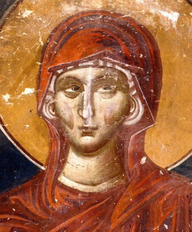 Святая Праведная Анна, мать Пресвятой Богородицы. Фреска Лесновского монастыря (Македония). XIV век.