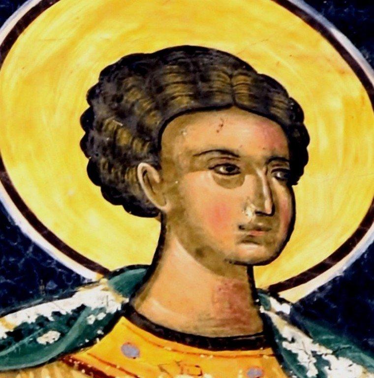 Священномученик Автоном, Епископ Италийский (?). Фреска монастыря Сучевица, Румыния. 1582 - 1601 годы.