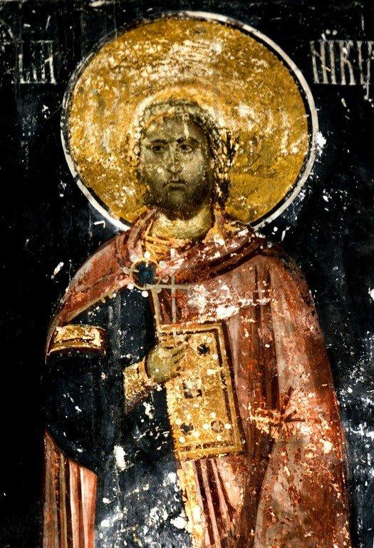 Святой Великомученик Никита Готфский. Фреска церкви Богородицы в монастыре Студеница, Сербия. 1568 год.