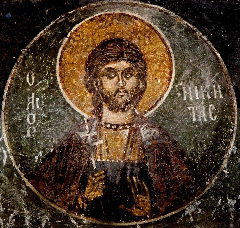 Святой Великомученик Никита Готфский. Фреска церкви Святого Николая Больничного в Охриде, Македония. XIV век.