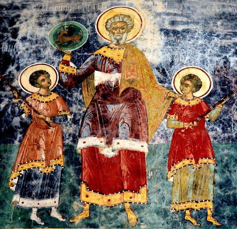 Святые Великомученик Евстафий Плакида и его сыновья Агапий и Феопист. Фреска монастыря Сучевица, Румыния. 1582 - 1601 годы.