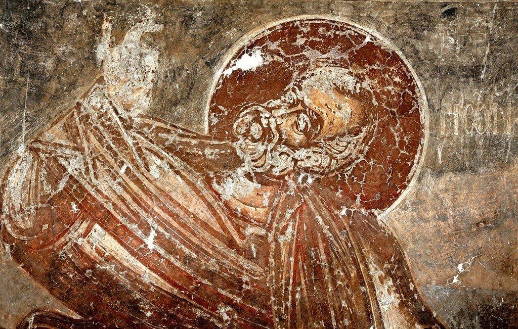 Святой Пророк Иона. Фреска церкви Спаса в Призрене, Косово, Сербия. XIV век.