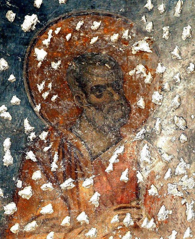 Святой Пророк Иона. Фреска церкви Богородицы Левишки в Призрене, Косово, Сербия. Около 1310 - 1313 годов. Иконописцы Михаил Астрапа и Евтихий.