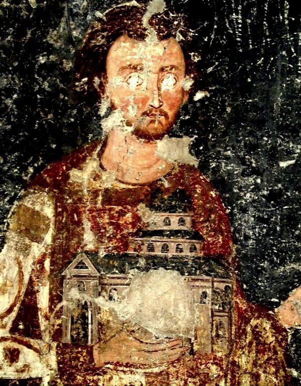 Святой Стефан Владислав, Король Сербский. Ктиторский портрет в церкви Вознесения Господня в монастыре Милешева (Милешево), Сербия. XIII век.