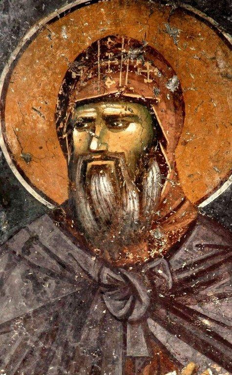 Святой Стефан Первовенчанный, Король Сербский. Фреска церкви Святых Апостолов в монастыре Печская Патриархия, Косово, Сербия. Около 1300 года.