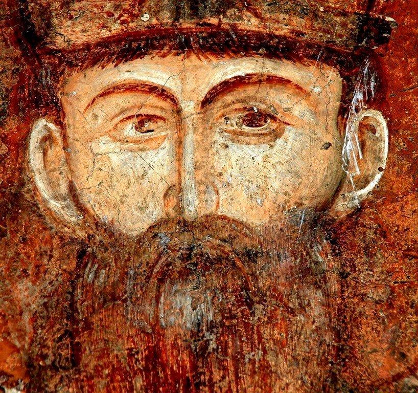 Святой Стефан Первовенчанный, Король Сербский. Фреска церкви Богородицы Левишки в Призрене, Косово, Сербия. Около 1310 - 1313 годов.