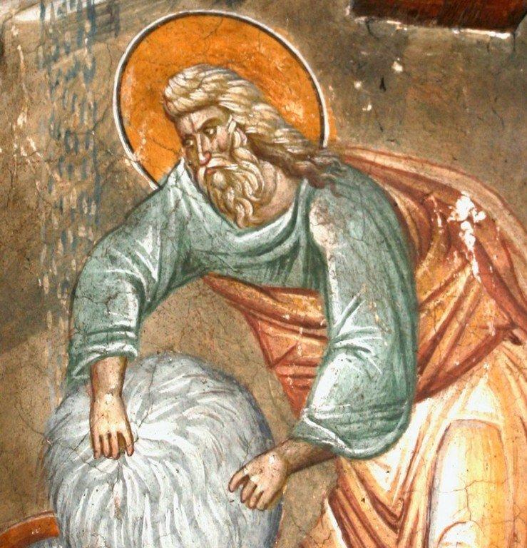 Руно Гедеоново. Фреска монастыря Высокие Дечаны, Косово, Сербия. Около 1350 года. Фрагмент.