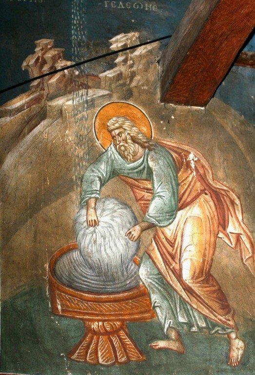 Руно Гедеоново. Фреска монастыря Высокие Дечаны, Косово, Сербия. Около 1350 года.