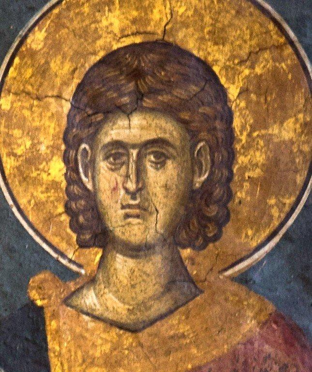 Святой Мученик Каллистрат. Фреска монастыря Высокие Дечаны, Косово, Сербия. Около 1350 года.