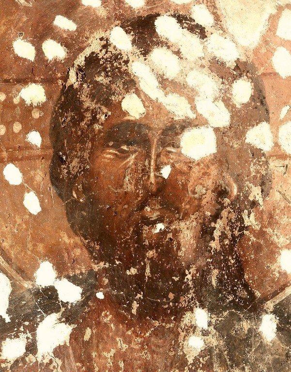 Лик Спасителя. Фреска церкви Спаса в Призрене, Косово, Сербия. XIV век.