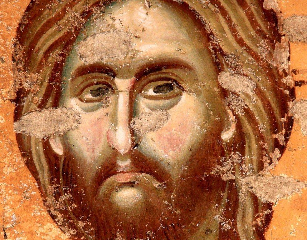 Лик Спасителя. Фреска церкви Богородицы Левишки в Призрене, Косово, Сербия. Около 1310 - 1313 годов. Иконописцы Михаил Астрапа и Евтихий.