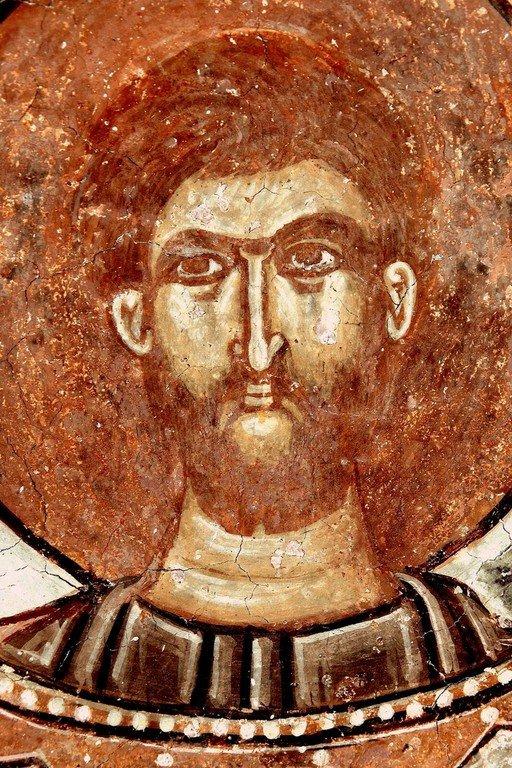 Святой Преподобный Роман Сладкопевец. Фреска церкви Святого Георгия в Призрене, Косово, Сербия. XVI век.