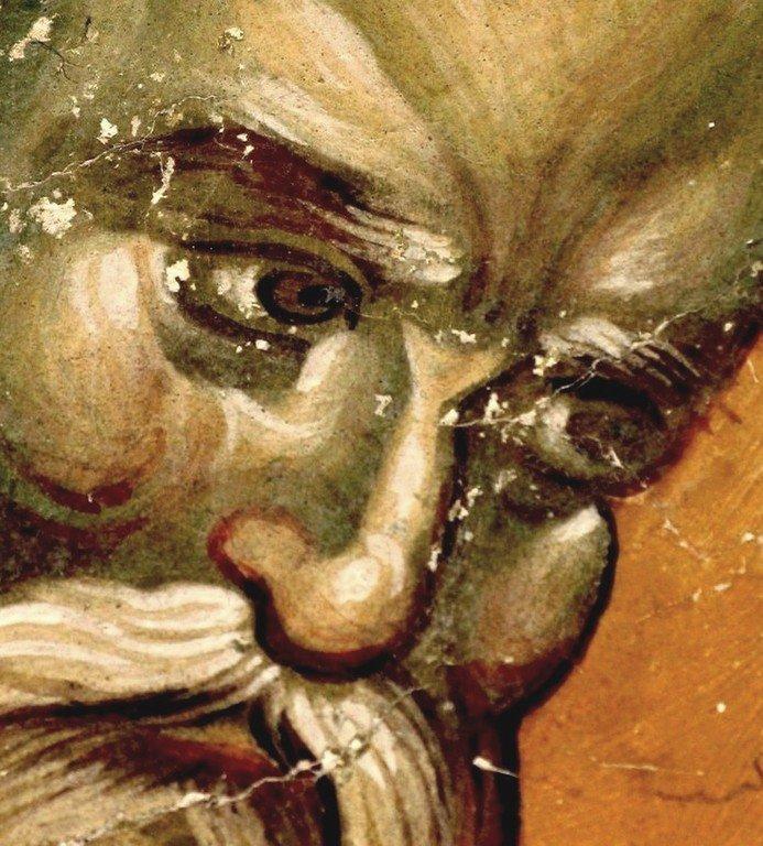 Священномученик Дионисий Ареопагит, Епископ Афинский. Фреска церкви Святых Иоакима и Анны (Королевской церкви) в монастыре Студеница, Сербия. 1314 год.