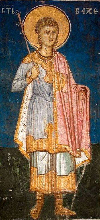 Святой Мученик Вакх Римлянин. Фреска монастыря Высокие Дечаны, Косово, Сербия. До 1350 года.