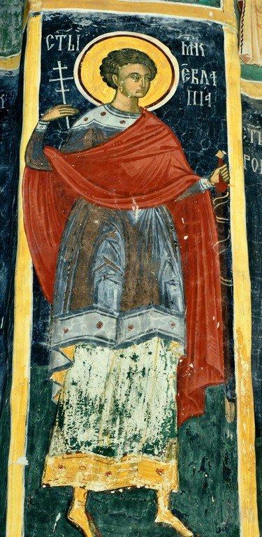 Святой Мученик Евлампий. Фреска монастыря Сучевица, Румыния. Около 1600 года.