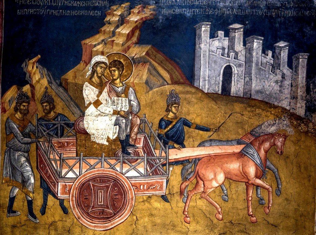 Святой Апостол от Семидесяти Филипп разъясняет Писание евнуху эфиопской царицы. Фреска монастыря Высокие Дечаны, Косово, Сербия. До 1350 года.