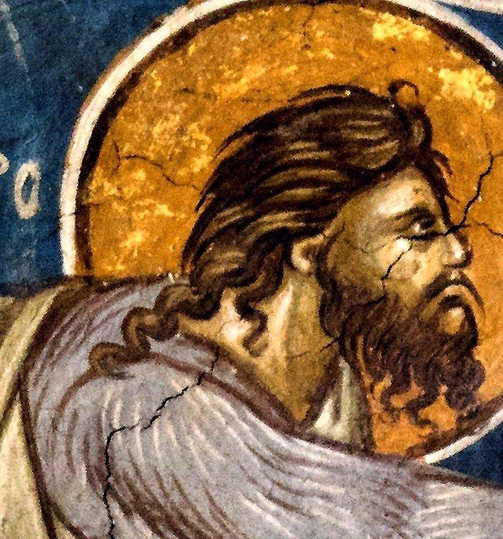 Древо Иессеево. Фреска монастыря Высокие Дечаны, Косово, Сербия. До 1350 года. Фрагмент. Крещение Господне.
