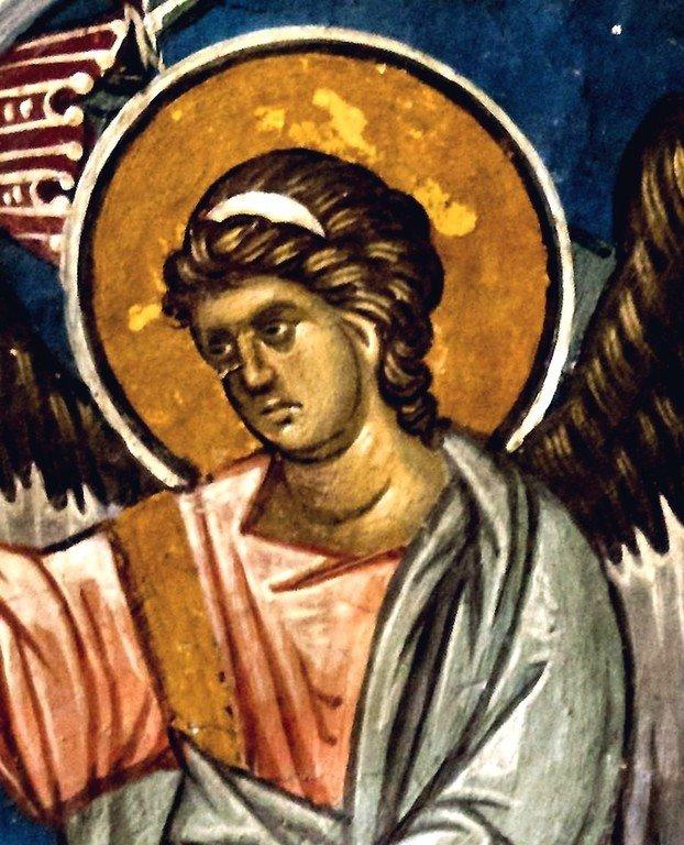 Древо Иессеево. Фреска монастыря Высокие Дечаны, Косово, Сербия. До 1350 года. Фрагмент. Явление Ангела Господня Валааму.
