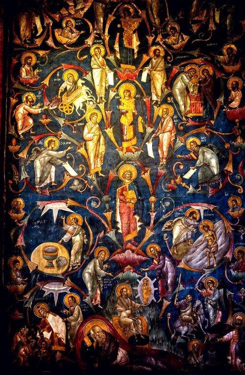 Древо Иессеево. Фреска монастыря Высокие Дечаны, Косово, Сербия. До 1350 года.