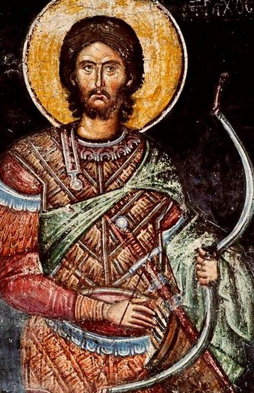 Святой Мученик Тарах. Фреска церкви Святого Николая в монастыре Куртя де Арджеш, Румыния. 1380-е годы.