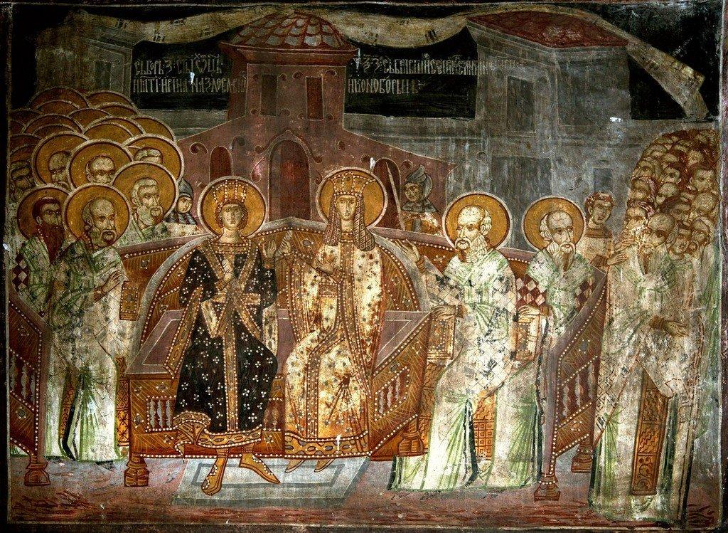 Седьмой Вселенский Собор. Фреска монастыря Святых Архангелов в Кучевиште, Македония. 1591 год.