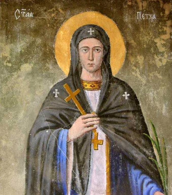 Святая Преподобная Параскева (Петка) Сербская. Фреска церкви Спаса в Брезице, Македония.