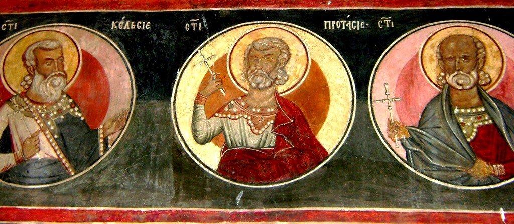Святые Медиоланские Мученики. Фреска Кремиковского монастыря Святого Георгия Победоносца близ Софии, Болгария. 1493 год.