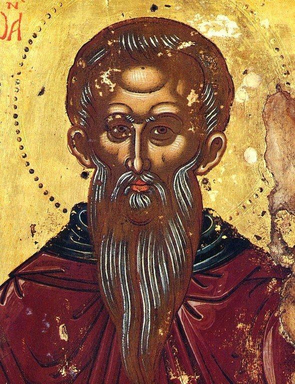 Святой Преподобный Иоанн Рыльский. Икона в сербском монастыре Хиландар на Афоне. XVII век. Фрагмент.