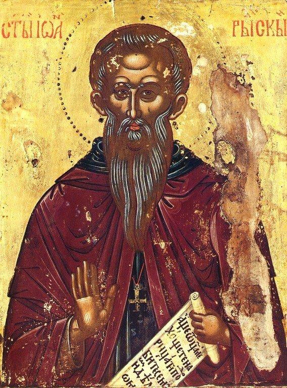 Святой Преподобный Иоанн Рыльский. Икона в сербском монастыре Хиландар на Афоне. XVII век.