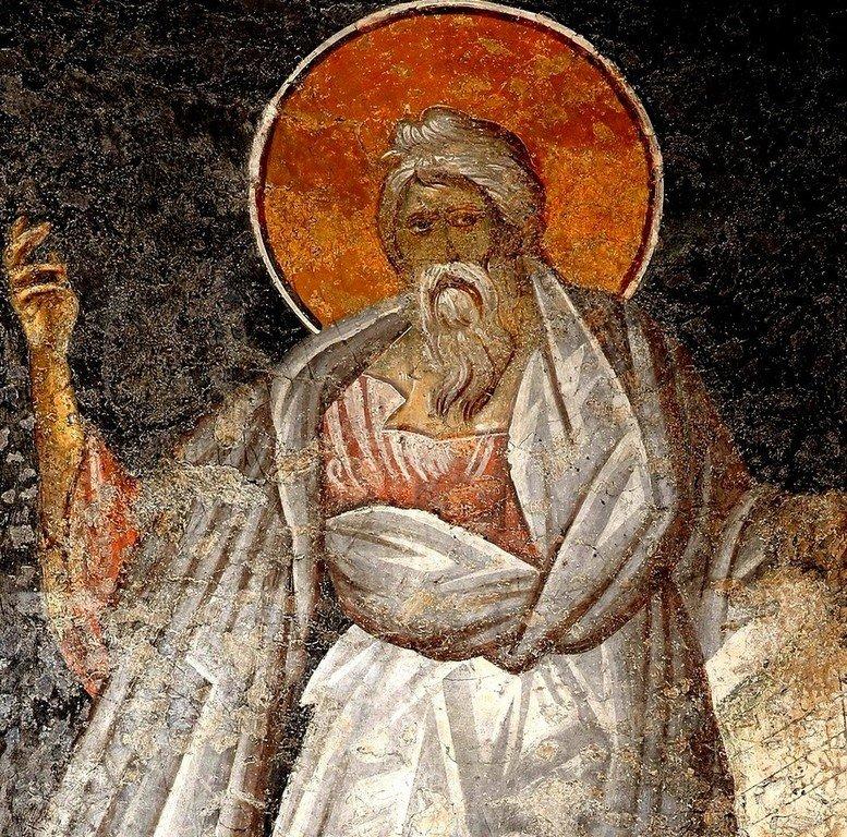 Святой Пророк Иоиль (?). Фреска церкви Богородицы Левишки в Призрене, Косово, Сербия. Около 1310 - 1313 годов. Иконописцы Михаил Астрапа и Евтихий.