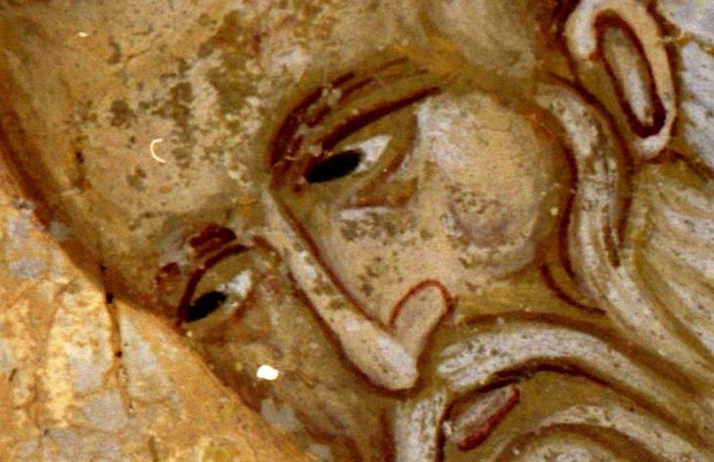 Святой Равноапостольный Аверкий, Епископ Иерапольский, Чудотворец. Фреска церкви Спаса в Кучевиште, Македония. 1330 - 1340-е годы.