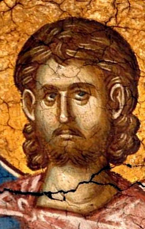 Святой Мученик Мартирий Константинопольский. Фреска монастыря Высокие Дечаны, Косово, Сербия. До 1350 года.