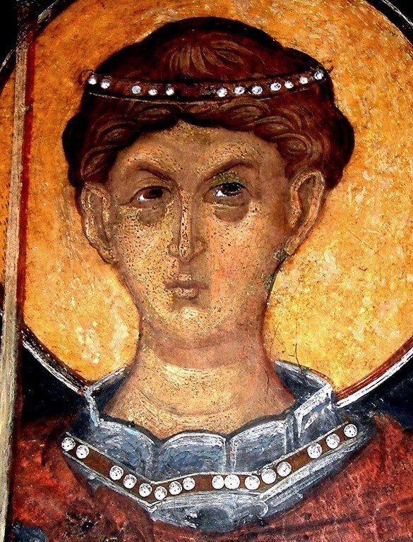 Святой Великомученик Димитрий Солунский. Фреска Кремиковского монастыря Святого Георгия Победоносца близ Софии, Болгария. 1493 год.