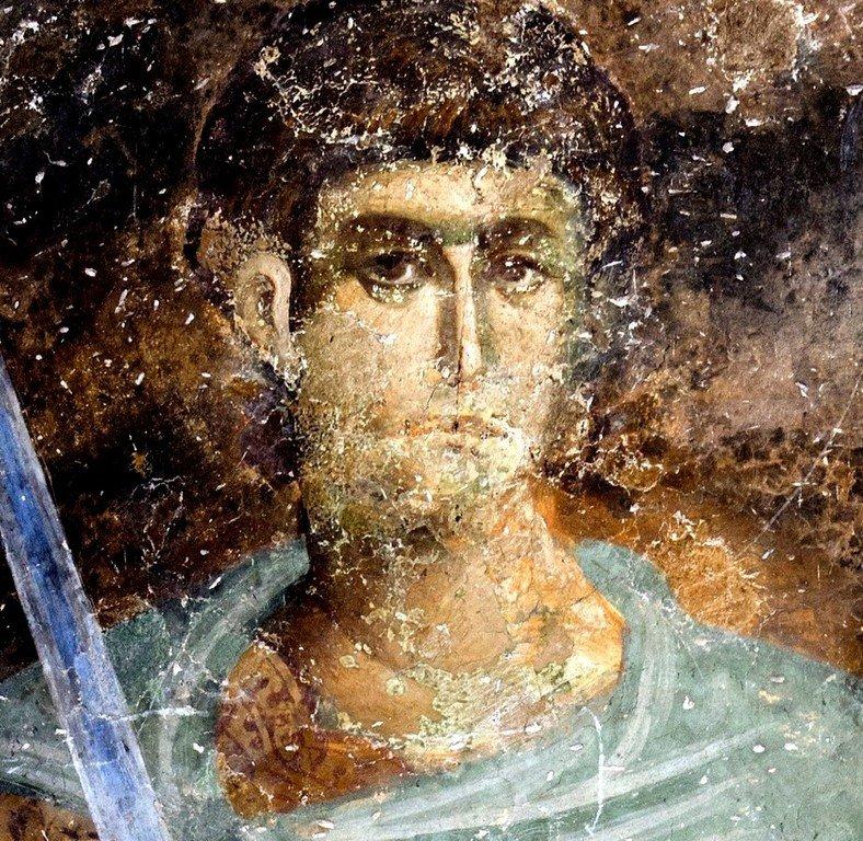 Святой Великомученик Димитрий Солунский. Фреска церкви Святой Троицы в монастыре Сопочаны, Сербия. 1265 год.