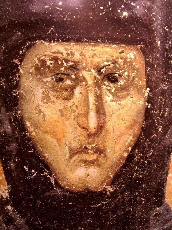 Святая Преподобная Елена, Королева Сербская. Фреска монастыря Грачаница, Косово и Метохия, Сербия. Около 1320 года.