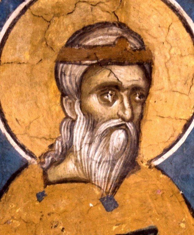 """Святой Стефан Драгутин, Король Сербский. Фрагмент фрески """"Лоза Неманичей"""". Монастырь Высокие Дечаны, Косово и Метохия, Сербия. До 1350 года."""