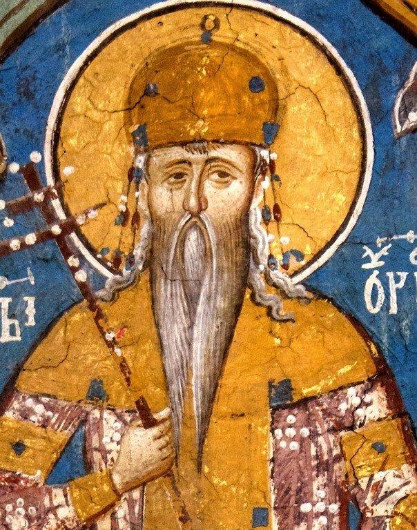 """Святой Стефан Урош II Милутин, Король Сербский. Фрагмент фрески """"Лоза Неманичей"""". Монастырь Высокие Дечаны, Косово и Метохия, Сербия. До 1350 года."""