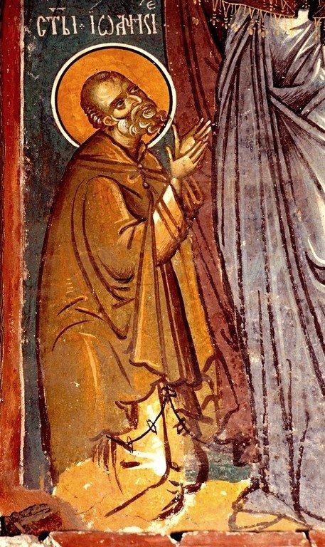Святой Преподобный Иоанникий Великий, молящийся Пресвятой Богородице. Фрагмент фрески монастыря Печская Патриархия, Косово, Сербия. XIV век.