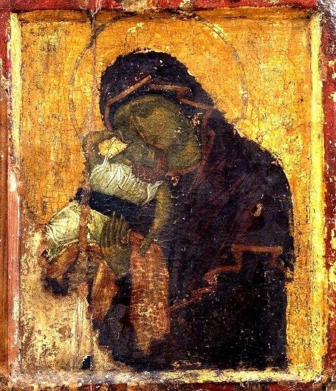 """Икона Божией Матери """"Взыграние"""" (Пелагонитисса). Первая половина XV века. Сербский монастырь Хиландар на Афоне."""