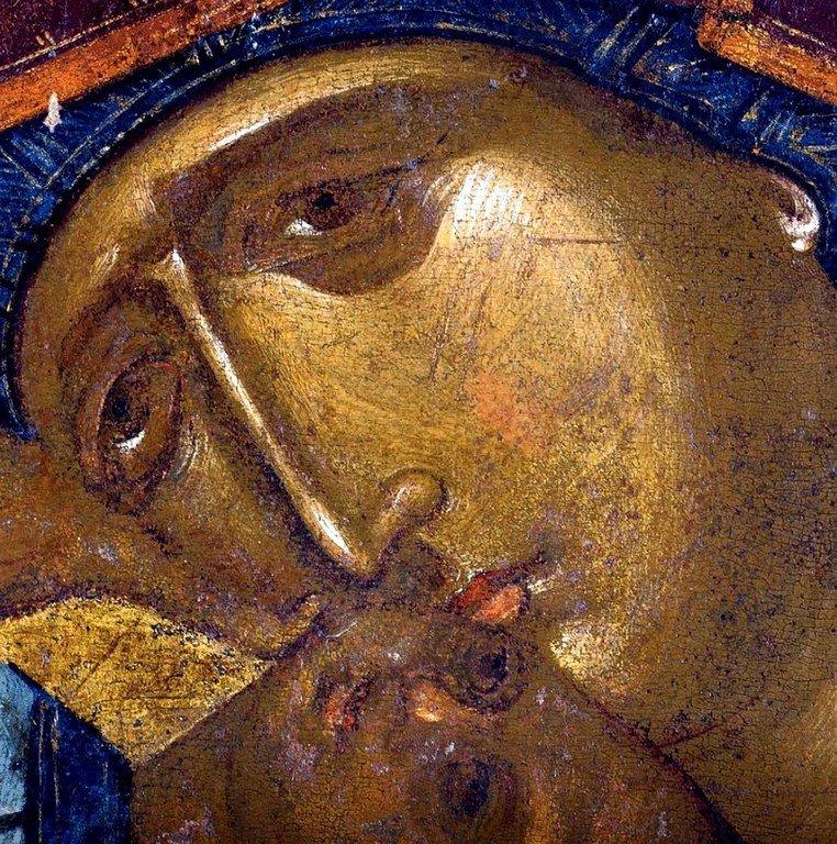 """Икона Божией Матери """"Взыграние"""" (Пелагонитисса). Вторая половина XIV века. Монастырь Высокие Дечаны, Косово и Метохия, Сербия. Фрагмент."""