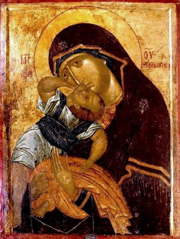 """Икона Божией Матери """"Взыграние"""" (Пелагонитисса). Вторая половина XIV века. Монастырь Высокие Дечаны, Косово и Метохия, Сербия."""