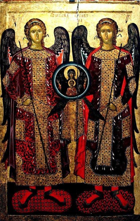 Собор Архангелов Михаила и Гавриила. Болгарская икона XIV века из Бачковского монастыря.