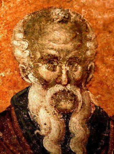 Святой Преподобный Феодосий Великий, Киновиарх. Фреска монастыря Грачаница, Косово, Сербия. Около 1320 года.