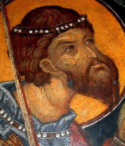 Святой Великомученик Феодор Тирон. Фреска Кремиковского монастыря Святого Георгия Победоносца близ Софии, Болгария. XV век.