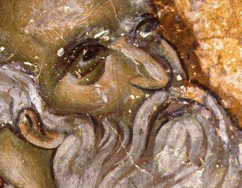 Святитель Афанасий Великий, Архиепископ Александрийский. Фреска церкви Богородицы Левишки в Призрене, Косово, Сербия. Около 1310 - 1313 годов. Иконописцы Михаил Астрапа и Евтихий.